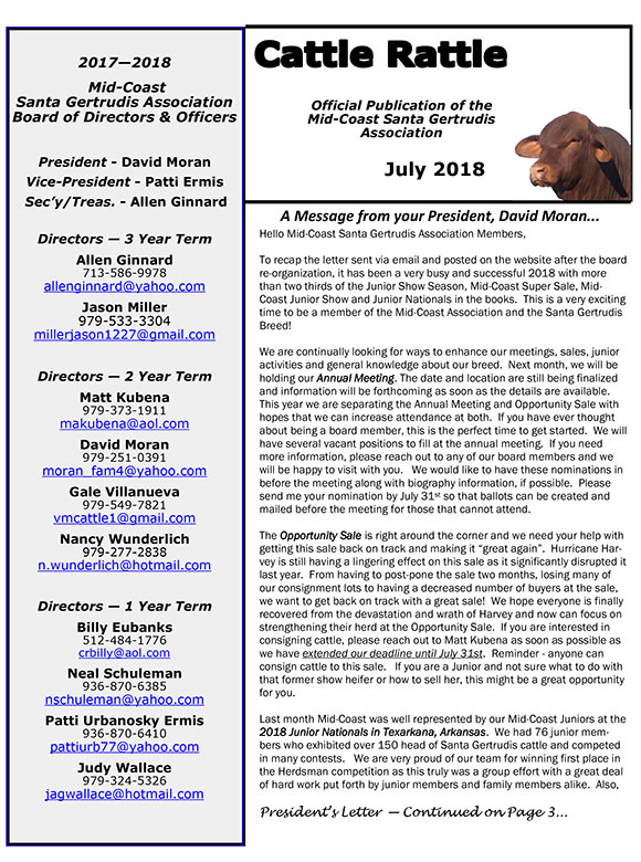 News mid coast santa gertrudis association newsletter news releases spiritdancerdesigns Gallery